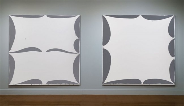 "Left to right: Amy Feldman, ""Psych Alike"" (2014) acrylic on canvas and ""Open Omen"" (2014) acrylic on canvas"